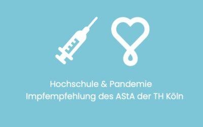 """Pressemitteilung """"Hochschule & Pandemie"""": Impfempfehlung des AStA der TH Köln"""